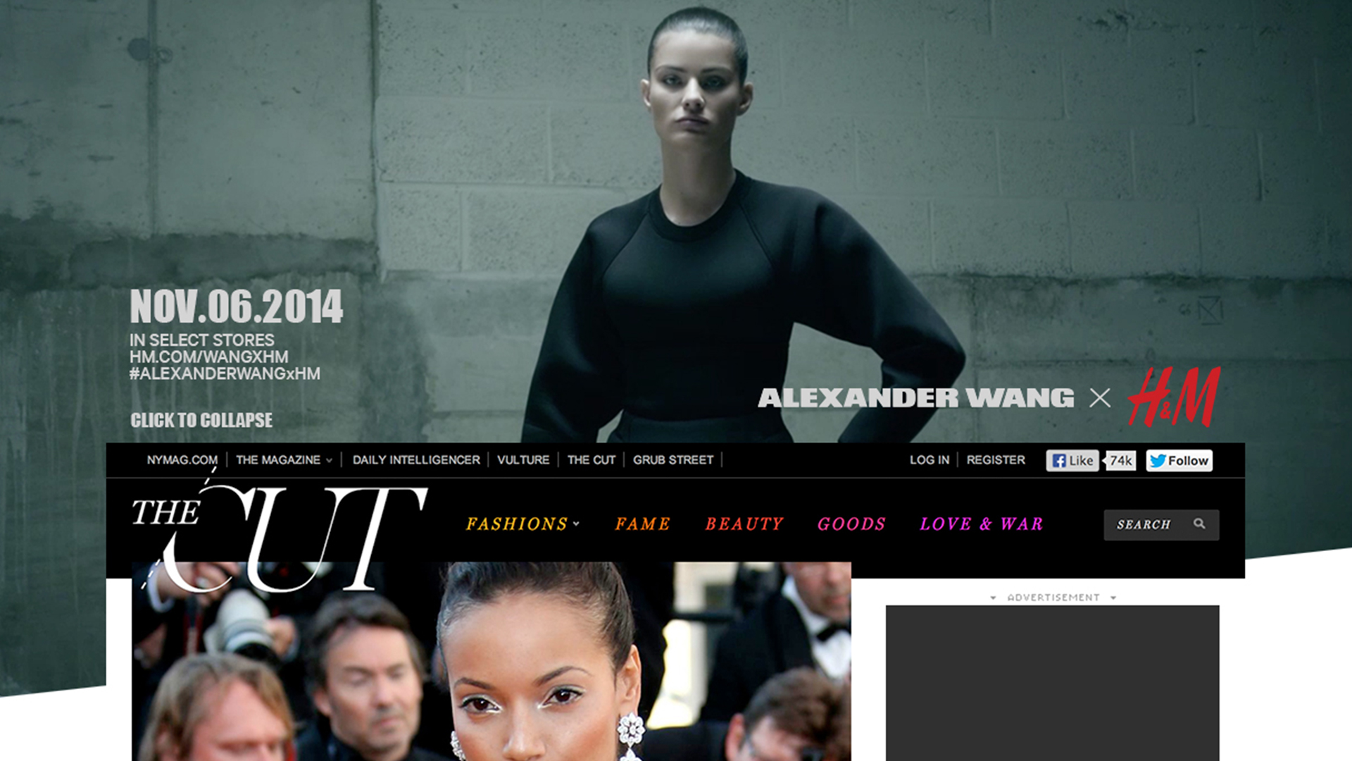 Collaberation with Alaxander Wang and H&M For a large scale video takeover with The Cut Magazin